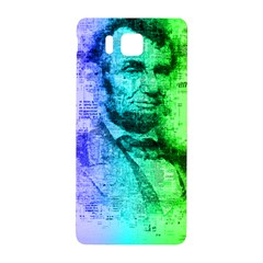Abraham Lincoln Portrait Rainbow Colors Typography Samsung Galaxy Alpha Hardshell Back Case