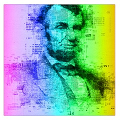 Abraham Lincoln Portrait Rainbow Colors Typography Large Satin Scarf (Square)