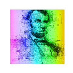 Abraham Lincoln Portrait Rainbow Colors Typography Small Satin Scarf (Square)