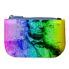 Abraham Lincoln Portrait Rainbow Colors Typography Large Coin Purse