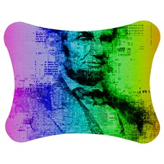 Abraham Lincoln Portrait Rainbow Colors Typography Jigsaw Puzzle Photo Stand (Bow)