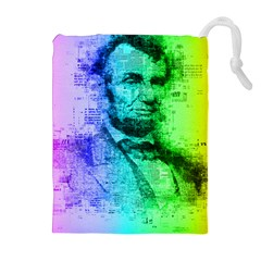 Abraham Lincoln Portrait Rainbow Colors Typography Drawstring Pouches (Extra Large)