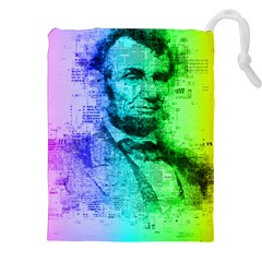 Abraham Lincoln Portrait Rainbow Colors Typography Drawstring Pouches (XXL)