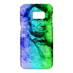 Abraham Lincoln Portrait Rainbow Colors Typography Samsung Galaxy S7 Hardshell Case