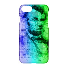 Abraham Lincoln Portrait Rainbow Colors Typography Apple iPhone 7 Hardshell Case