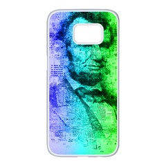 Abraham Lincoln Portrait Rainbow Colors Typography Samsung Galaxy S7 edge White Seamless Case
