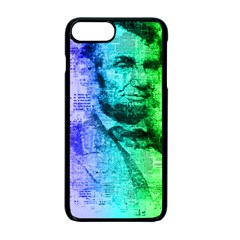 Abraham Lincoln Portrait Rainbow Colors Typography Apple iPhone 7 Plus Seamless Case (Black)