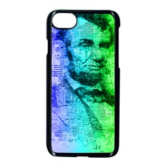 Abraham Lincoln Portrait Rainbow Colors Typography Apple iPhone 7 Seamless Case (Black)