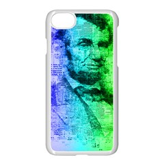 Abraham Lincoln Portrait Rainbow Colors Typography Apple iPhone 7 Seamless Case (White)