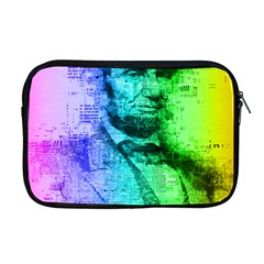 Abraham Lincoln Portrait Rainbow Colors Typography Apple MacBook Pro 17  Zipper Case