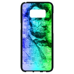 Abraham Lincoln Portrait Rainbow Colors Typography Samsung Galaxy S8 Black Seamless Case