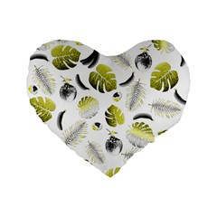 Tropical pattern Standard 16  Premium Flano Heart Shape Cushions