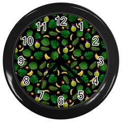 Tropical pattern Wall Clocks (Black)