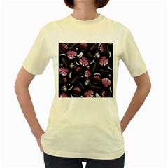 Tropical pattern Women s Yellow T-Shirt