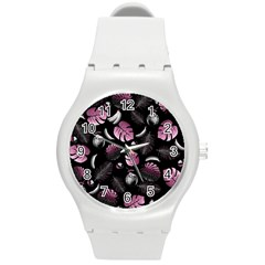 Tropical pattern Round Plastic Sport Watch (M)