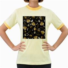 Tropical pattern Women s Fitted Ringer T-Shirts