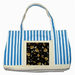 Tropical pattern Striped Blue Tote Bag