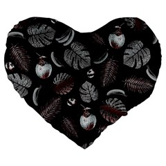 Tropical pattern Large 19  Premium Heart Shape Cushions