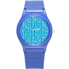 Fish pattern Round Plastic Sport Watch (S)