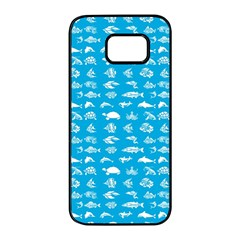 Fish Pattern Samsung Galaxy S7 Edge Black Seamless Case