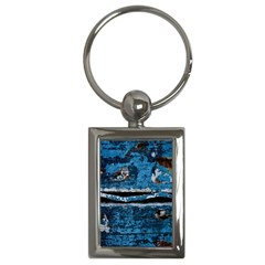 Blue painted wood                Key Chain (Rectangle)