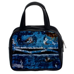 Blue painted wood                Classic Handbag (Two Sides)