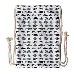 Fish pattern Drawstring Bag (Large)