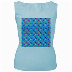 Summer pattern Women s Baby Blue Tank Top