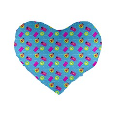 Summer pattern Standard 16  Premium Flano Heart Shape Cushions
