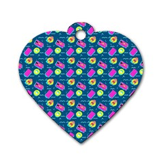 Summer pattern Dog Tag Heart (One Side)