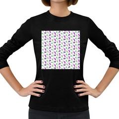 Dinosaurs pattern Women s Long Sleeve Dark T-Shirts