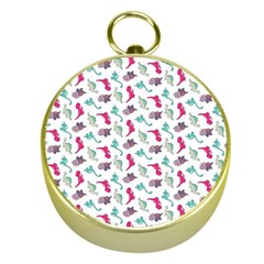Dinosaurs Pattern Gold Compasses