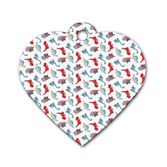Dinosaurs pattern Dog Tag Heart (Two Sides)