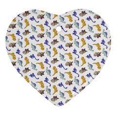 Dinosaurs pattern Heart Ornament (Two Sides)