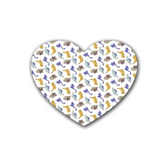 Dinosaurs pattern Heart Coaster (4 pack)