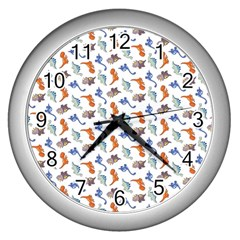 Dinosaurs pattern Wall Clocks (Silver)