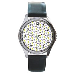 Dinosaurs pattern Round Metal Watch
