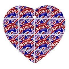 Happy 4th Of July Theme Pattern Ornament (Heart)