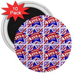 Happy 4th Of July Theme Pattern 3  Magnets (10 pack)