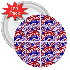 Happy 4th Of July Theme Pattern 3  Buttons (100 pack)