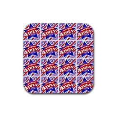 Happy 4th Of July Theme Pattern Rubber Square Coaster (4 pack)