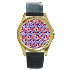 Happy 4th Of July Theme Pattern Round Gold Metal Watch