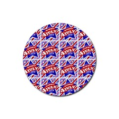 Happy 4th Of July Theme Pattern Rubber Coaster (Round)