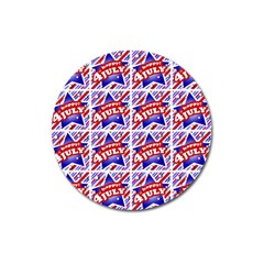 Happy 4th Of July Theme Pattern Magnet 3  (Round)