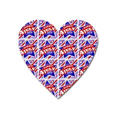 Happy 4th Of July Theme Pattern Heart Magnet