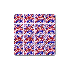Happy 4th Of July Theme Pattern Square Magnet