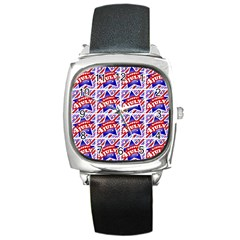 Happy 4th Of July Theme Pattern Square Metal Watch