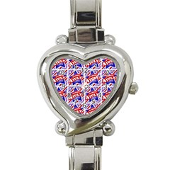 Happy 4th Of July Theme Pattern Heart Italian Charm Watch
