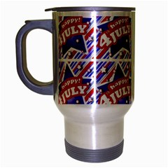 Happy 4th Of July Theme Pattern Travel Mug (Silver Gray)