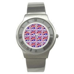 Happy 4th Of July Theme Pattern Stainless Steel Watch